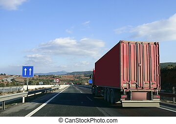 Heavy transportation truck lorry on a road