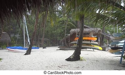 Heavy Tropical Rain at a Luxury Beach Resort, with Sound -...