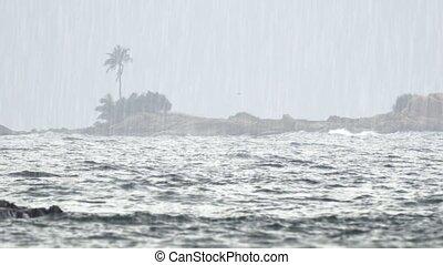 Heavy Tropical Rain over Tropical Beach Paradise in ...