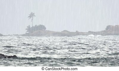 Heavy Tropical Rain over Tropical Beach Paradise in Hikkaduwa