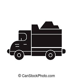 Heavy truck black vector concept icon. Heavy truck flat illustration, sign