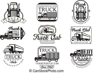Heavy Truck Club Black And White Emblems