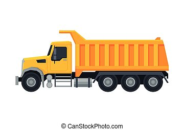 Heavy Truck Construction Machine, Special Transport, Side View Flat Vector Illustration
