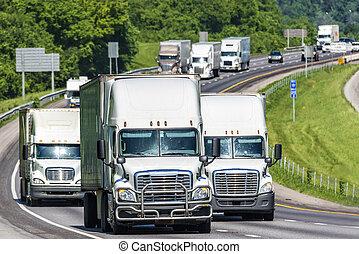 Heavy Truck Traffic on an Interstate Highway