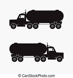 Heavy truck with chermical tank black color. Vector illstration.