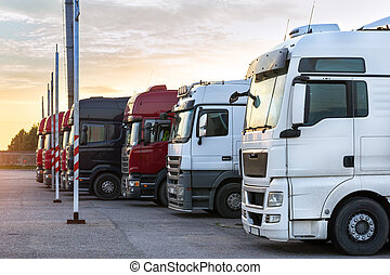 Heavy trucks with trailers - Heavy trucks loaded with goods ...