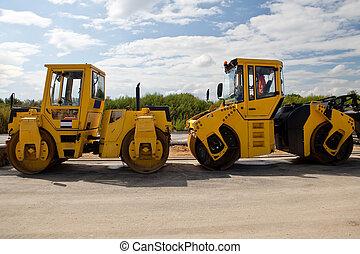Heavy Vibration roller at asphalt pavement works (road ...