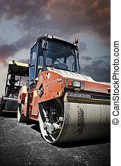 Heavy Vibration roller at asphalt pavement works (road...