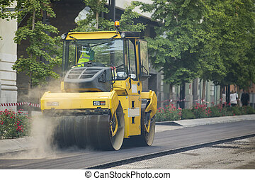 Heavy Vibration roller compactor at asphalt pavement works ...