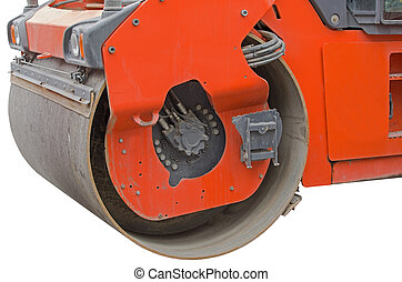 Heavy Vibration roller compactor for road repairing on white...