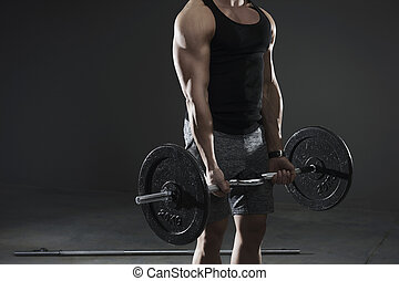 Heavy weight bar and stong man