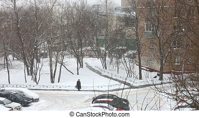 Heavy winter snowfall in the  city