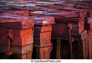 heavy wooden trunks