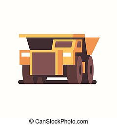 heavy yellow dumper truck industrial machine coal mine production professional equipment mining transport concept flat front view horizontal