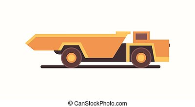heavy yellow dumper truck industrial machine coal mine production professional equipment mining transport concept flat horizontal vector illustration