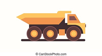 heavy yellow dumper truck industrial machine coal mine production professional equipment mining transport concept flat horizontal