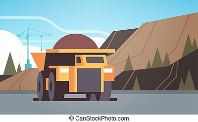 heavy yellow dumper truck professional equipment working on coal mine production mining transport concept opencast stone quarry background flat horizontal