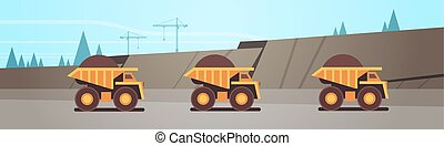 heavy yellow dumper trucks professional equipment working on coal mine production mining transport concept opencast stone quarry background flat horizontal