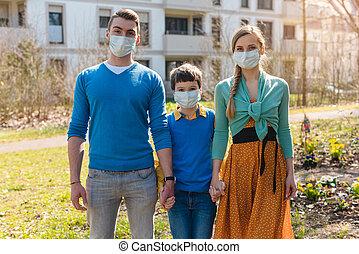 hebben, coronavirus, gezin, crisis, wandeling, gedurende