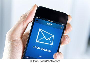 hebben, een, nieuw, boodschap, op, mobiele telefoon