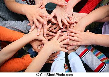 hebben, gecombineerd, kinderen, samen, handen