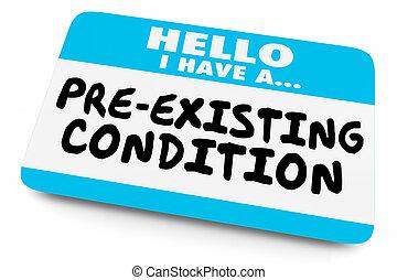 hebben, pre-existing, label, naam, illustratie, voorwaarde, hallo, 3d