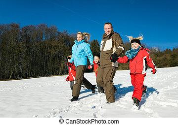 hebben, sneeuw, gezin, wandeling
