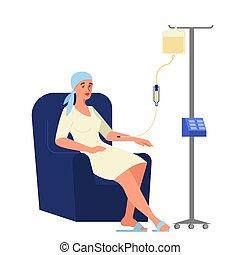 hebben, vector, illustratie, patiënt, chemotherapy., ...