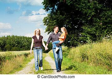 hebben, verdragend, wandeling, kind, gezin