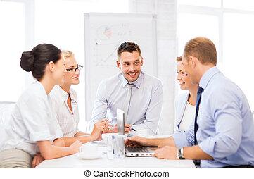 hebben, vergadering, kantoor, handel team