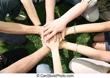 hebben, vrienden, gecombineerd, samen, handen