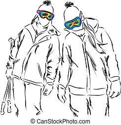 hebben, vrienden, ski, vrouwen, uitrusting