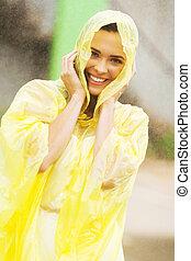 hebbend plezier, in de regen