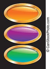 hebillas, brillante, coloreado