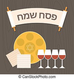 hebrew alphabet in torah scroll meaning happy passover, four glass of wine with seder plate and matzah, flat design