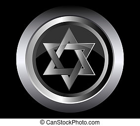 hebrew Jewish Star of magen david in black metal button...