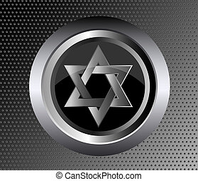 hebrew Jewish Star of magen david in black metal button on...