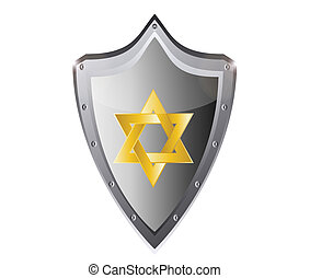 hebrew Jewish Star of magen david in black metal button...
