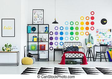 heccel, színes, szoba