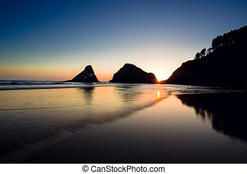 Heceta Head Beach at Sunset on the Oregon Coast