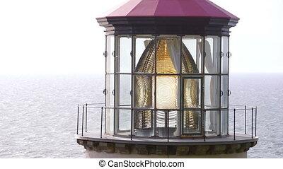 Heceta Lighthouse Rotates Main Fresnel Lens Housing Oregon Coastal Marine