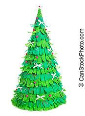 hechaa mano, árbol, aislado, papel, plano de fondo, navidad blanca