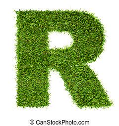 hecho, aislado, r, verde, carta, blanco, pasto o césped