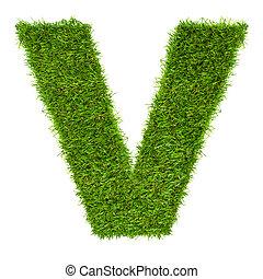hecho, aislado, verde, carta, v, blanco, pasto o césped