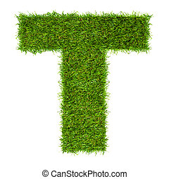 hecho, aislado, verde, t, carta, blanco, pasto o césped