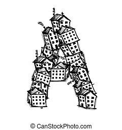 hecho, alfabeto, casas, vector, diseño, carta