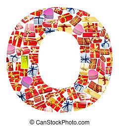 hecho, alfabeto,  -,  O, carta,  giftboxes