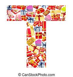 hecho, alfabeto,  -,  T, carta,  giftboxes