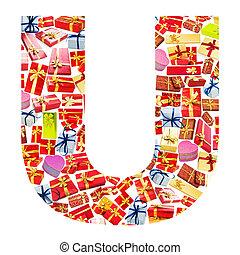 hecho, alfabeto,  -,  U, carta,  giftboxes