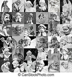 hecho, angelical, Golpeteo, Muchos, -, recuerdo, Estatuas,...